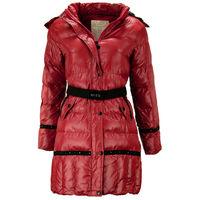 Детская зимняя куртка для девочки красного цвета, 140 рост