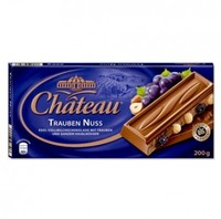 Шоколад Chateau Trauben Nuss - молочный шоколад с орехами фундуком и изюмом, 200гр. Германия