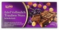 Шоколад Karina Edel Vollmilch Trauben Nuss Молочный шоколад с изюмом и цельным орехом, 200гр. Германия