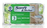 Toilettenpapier 3-lagig Recycling - 3х слойная туал бумага Recycling 8 руллонов 200 Blatt (Германия)