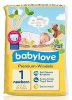 Babylove Premium-Windeln newborn 2-5 kg - подгузники для новорожденных (Германия) 28 шт.