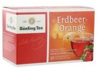 Früchtetee, Bünting Erdbeer Orange - фруктовый чай Bünting вкус спелых апельсинов и сладкий клубничный аромат (Германия) 20 пакетиков