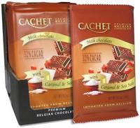 Премиум шоколад Cachet 32% Milk Chocolate Bar with Caramel & Sea Salt - с морской солью и карамелью, 300гр. Бельгия