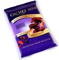 Премиум шоколад Cachet 32% Milk Chocolate with Nuss & Raisins - с миндалем и изюмом, 300гр. Бельгия