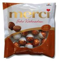 Шоколадные конфеты Merci Frohe Weihnachten Edel-Nougat-Kugeln, 120 гр. Германия