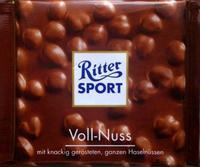RITTER SPORT Voll Nuss - Молочный шоколад с лесными цельными орехами, 100гр. Германия