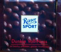 Шоколад Ritter Sport Dunkle Voll-Nuss Горький с цельным орехом, 100гр. Германия