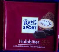 RITTER SPORT Halbbiter - Полугорький шоколад, 100гр. Германия