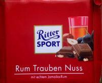 RITTER SPORT Rum Trauben Nuss - Ром, изюм и орех, 100гр. Германия