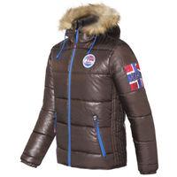 Куртка зимняя мужская Nebulus Atlantic, коричневая, с капюшоном, Оригинал, Германия