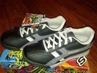 кроссовки SKECHERS черные, 32 размер, черного цвета, кожа