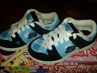 кроссовки SKECHERS, 27 размер, цвет черный-голубой