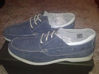 Мокасины  мужские Harrykson светло синие с белой полосой, 43 размер, кожа, Англия, Супер-качество!