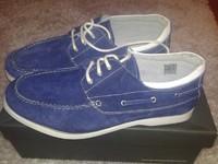 Мокасины мужские Harrykson сине-белые, 44 размер, кожа, Англия, Супер-качество!